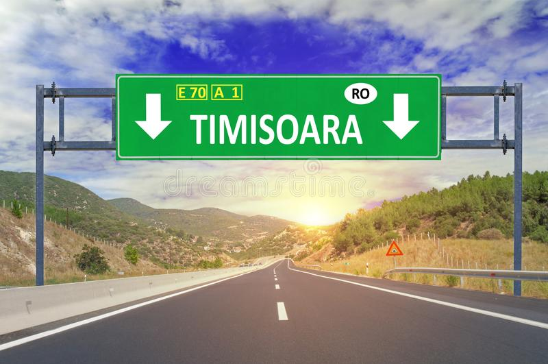 Timisoara road sign on highway. Close stock images