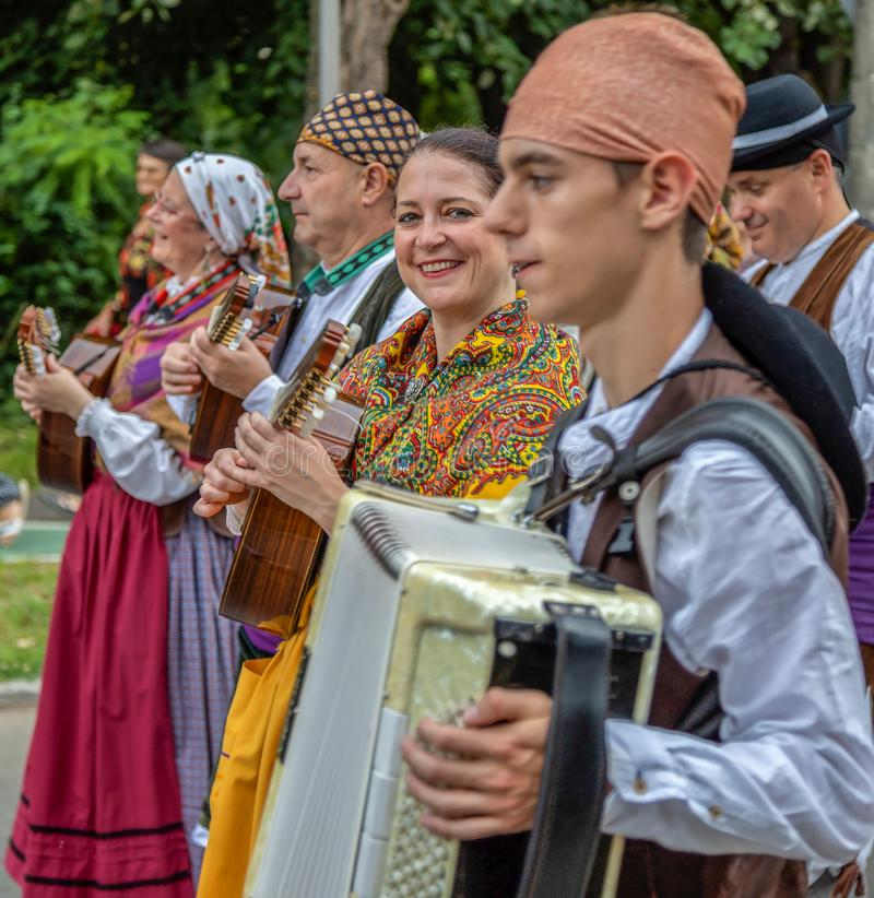 Group of singers from Spain in traditional costume. TIMISOARA, ROMANIA - JULY 4, 2019: Group of singers from Spain in traditional costume present at the stock photos