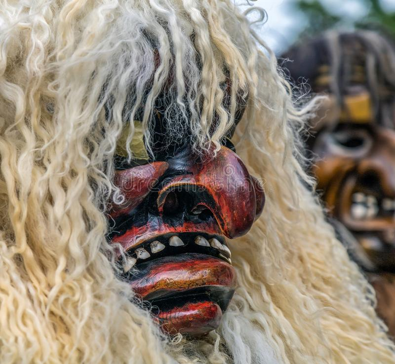Typical traditional mask from Switzerland. TIMISOARA, ROMANIA - JULY 4, 2019: Typical traditional mask from Switzerland present at the international folk royalty free stock image