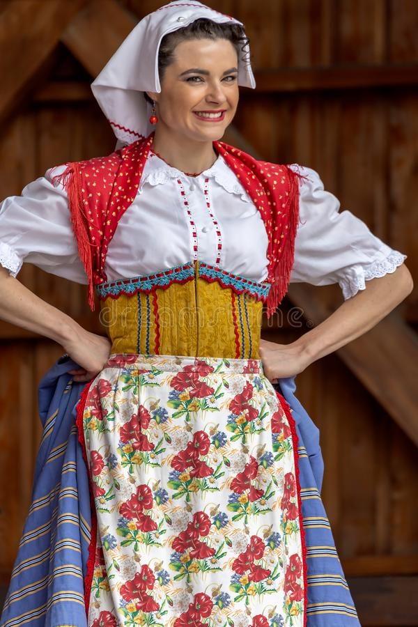 TIMISOARA, ROMANIA - JULY 8, 2018: Woman dancer from Italy in traditional costume present at the international folk festival stock images