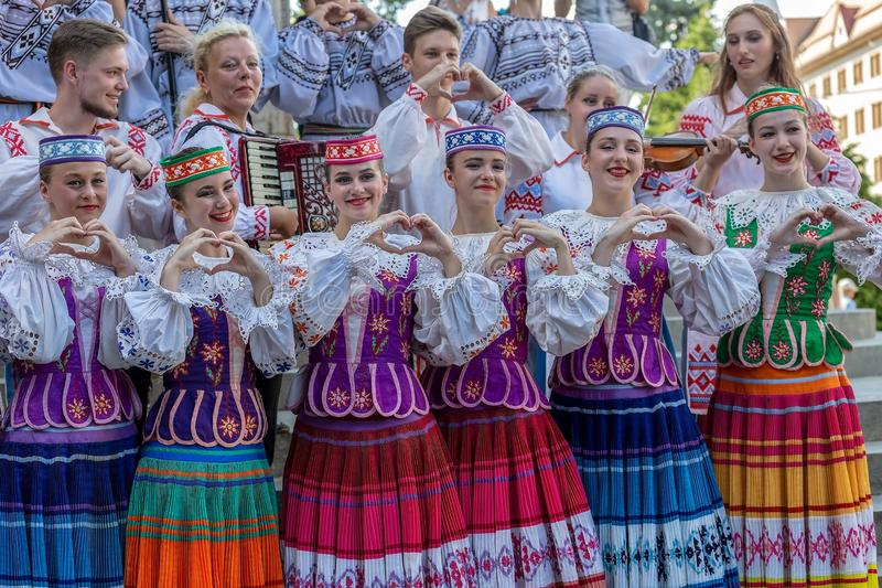 Young dancers from Belarus in traditional costume stock image