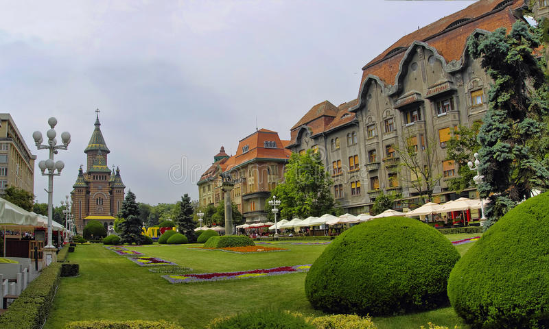 TIMISOARA, ROMANIA. JUNE 10: Tourists visit old town in town on JUNE 10, 2014 in royalty free stock photo