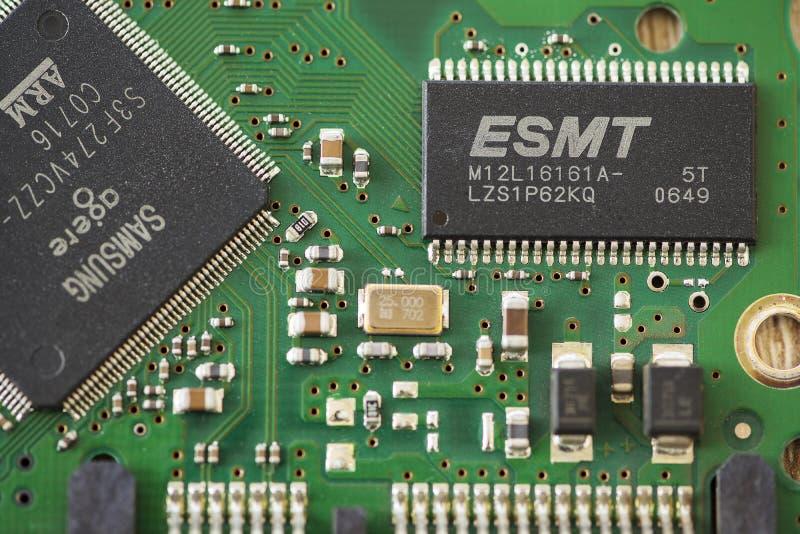 Close-up of a microprocessor. TIMISOARA, ROMANIA - MARCH 30, 2019: Close-up of a ESMT SDRAM microprocessor royalty free stock image
