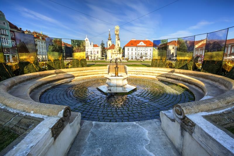 Timisoara, Romania. Union square and his old fountain, Timisoara, Timis county, Romania. Photo taken on 21st of April 2019 stock photo