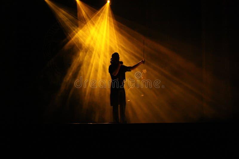 TIMISOARA, ROMANIA-10 01 Violinenspieler 2009 im Scheinwerferlicht des Stadiums mit schönen Strahlen des Lichtes Schattenbild des lizenzfreies stockbild