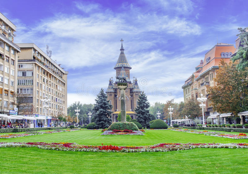 TIMISOARA, ROUMANIE - 15 octobre 2016 arrangements floraux en Victory Square, avec la cathédrale orthodoxe images stock