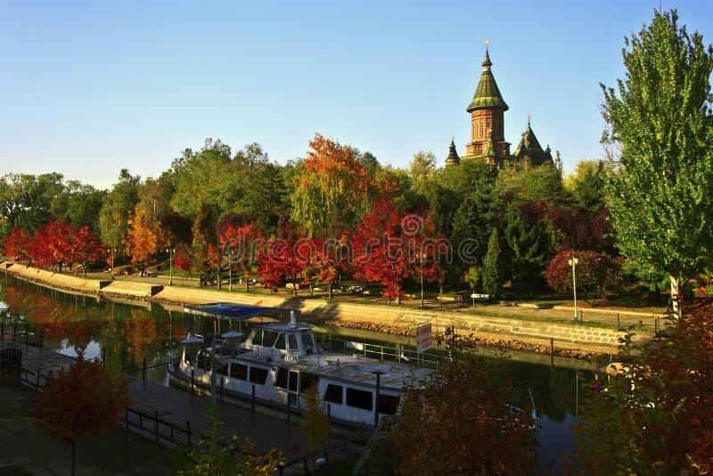 Timisoara. Somewhere along the Bega River, Timisoara, Romania. in October stock images