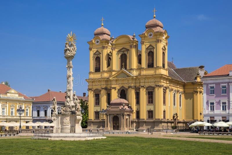 Timisoara Catholic Cathedral. Timisoara Union Square Catholic Cathedral royalty free stock photos