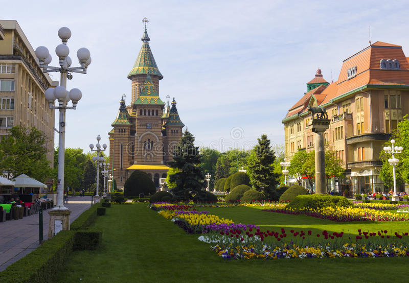 Timisoara. The Victory Square and the Metropolitan Cathedral in Timisoara royalty free stock image