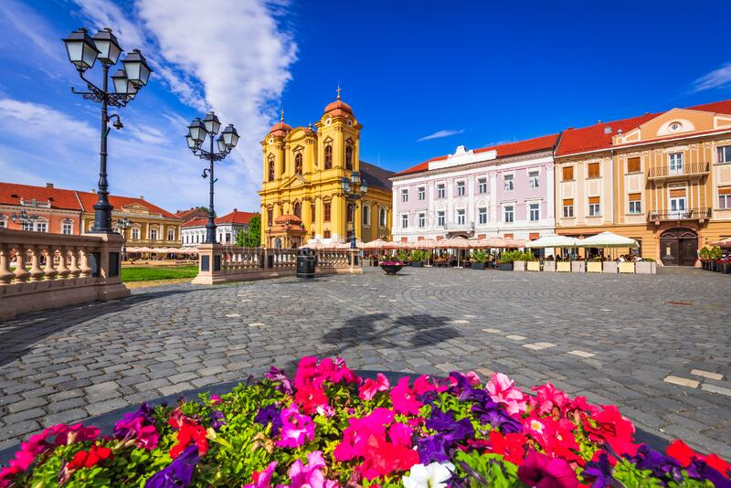 Timisoara, Banat - Union Square in Transylvania western Romania royalty free stock photography