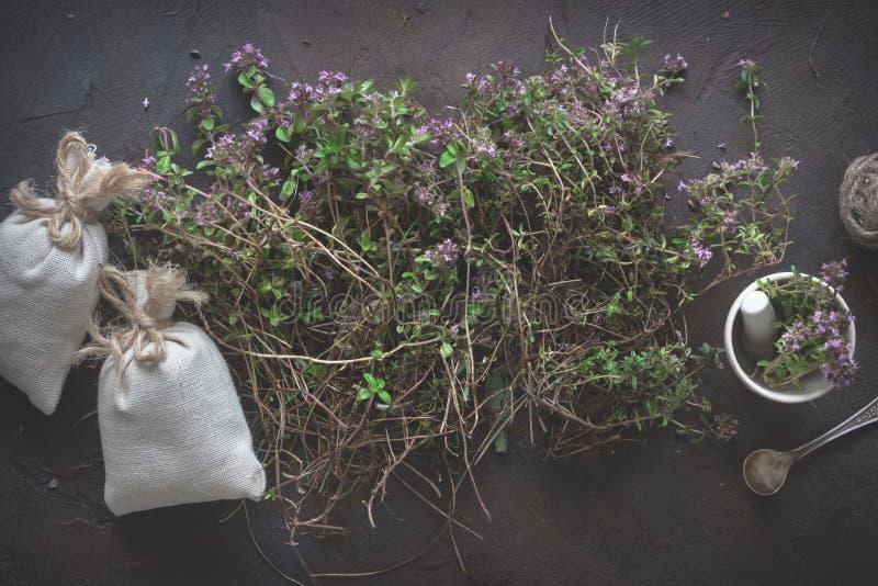 Timjanblommor, mortel och påsar som är fulla av medicinska örter för thymuskörtelserpyllum royaltyfri bild
