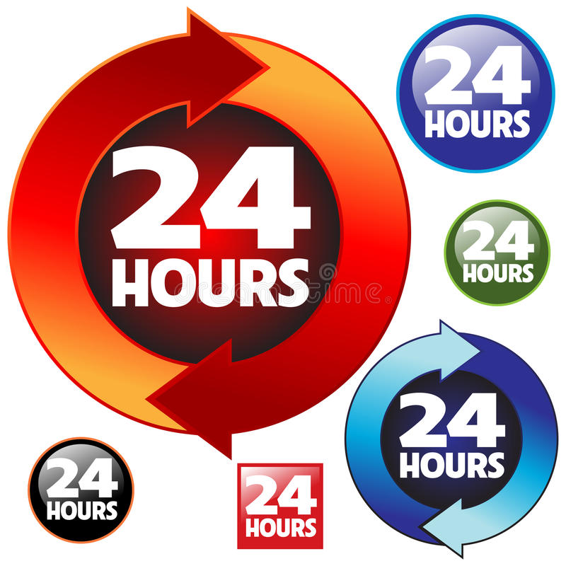 24 timmar vektor illustrationer