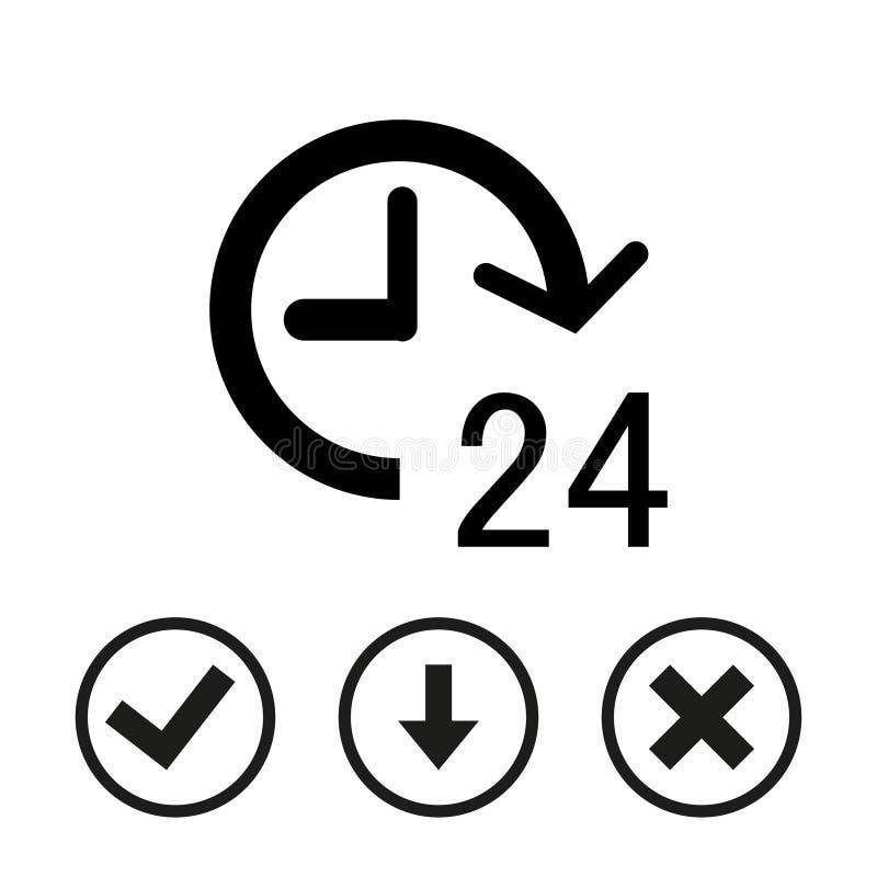 24 timmar design för lägenhet för illustration för symbolsmaterielvektor stock illustrationer