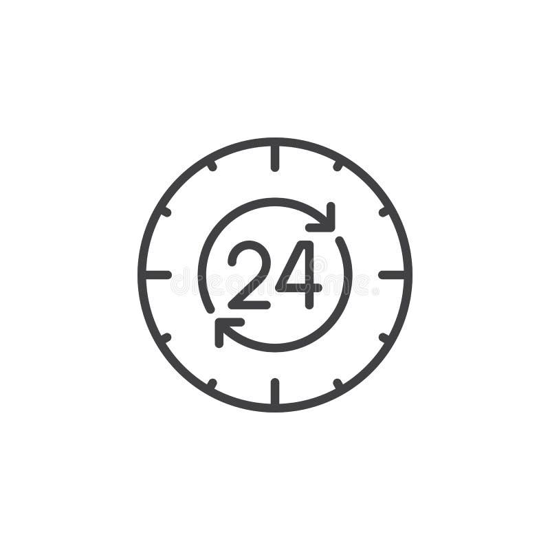 24 timmar dygnet runt linje symbol, översiktsvektortecken, linjär pictogram som isoleras på vit vektor illustrationer