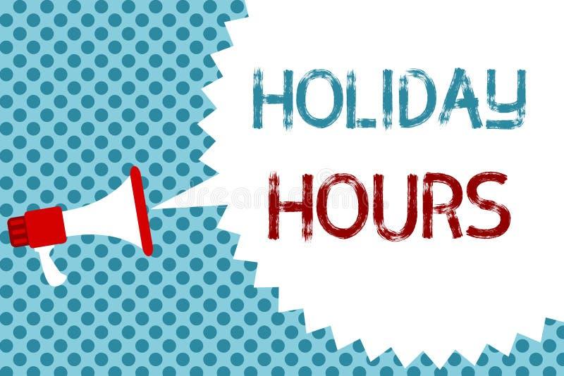 Timmar för ferie för textteckenvisning Begreppsmässigt fotoschema megafon för bokslut 24 eller 7 halvdag i dag för sista minut se stock illustrationer