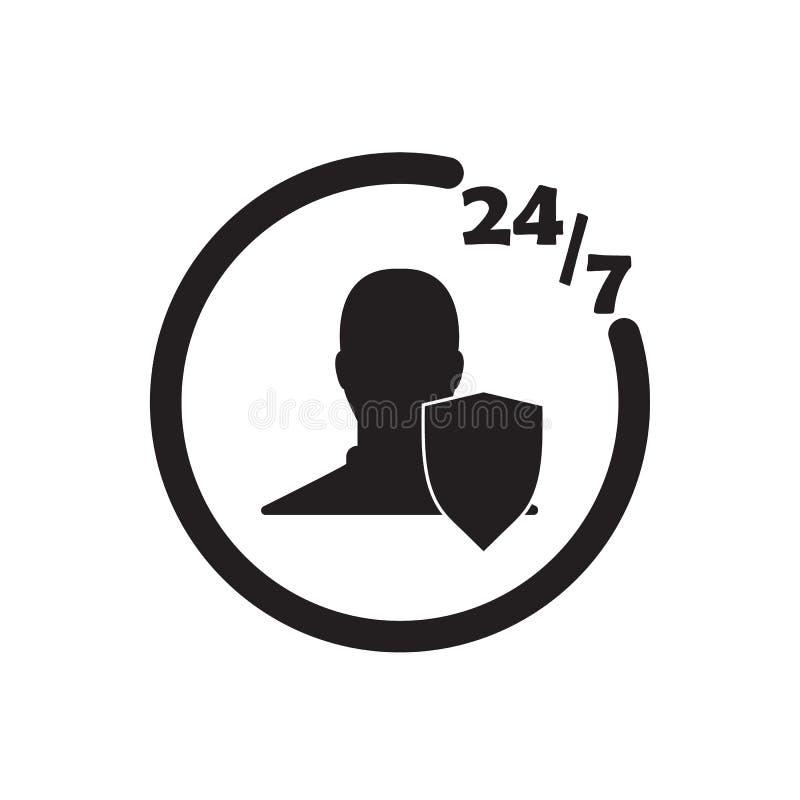 24 timmar illustration för design för vektor för svart för 7days-försäkringsymbol royaltyfri illustrationer