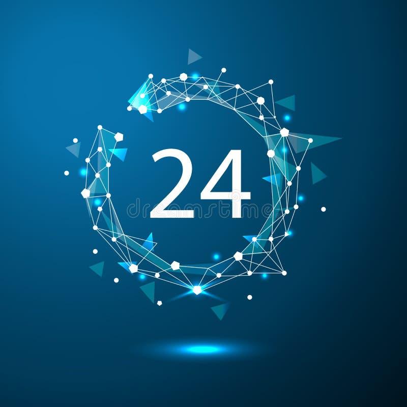 24 timmar kundtjänst Runda klockaservicesymbolet Polygonal utrymme lågt som är poly med att förbinda, pricker och fodrar stock illustrationer