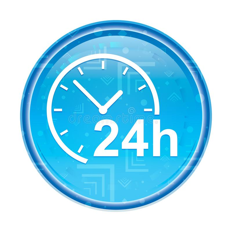 24 timmar tar tid på den blom- blåa runda knappen för symbolen royaltyfri illustrationer