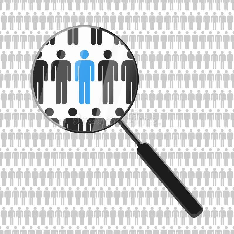 Timme som söker efter anställd med förstoringsglaset vektor illustrationer