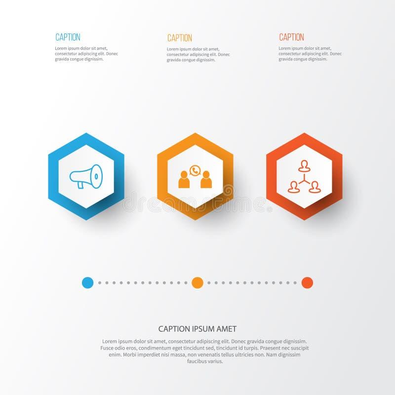 Timme-symbolsuppsättning Samling av samtal, hierarki, megafon och andra beståndsdelar Inkluderar också symboler liksom laget, app stock illustrationer