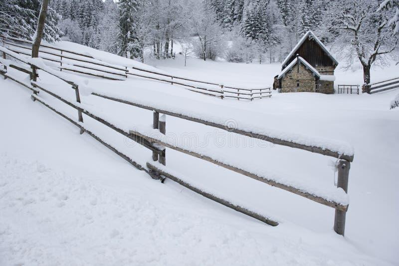 Timmerhus i snöig liggande royaltyfri foto