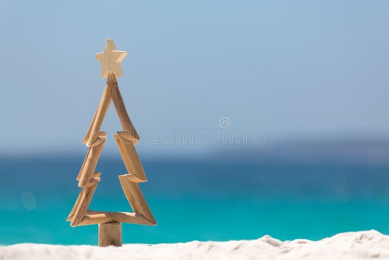 Timmerjulgran i sand på stranden arkivfoton