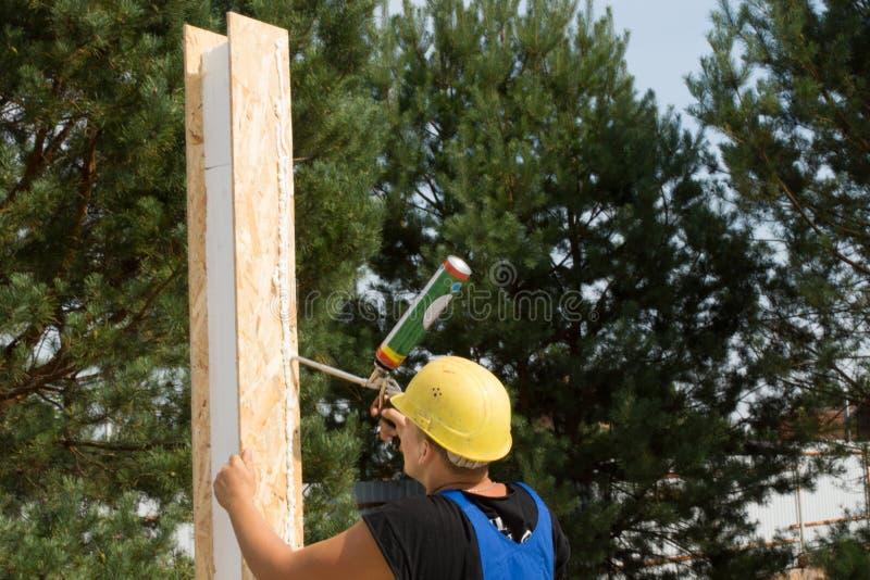 Timmerman die houten lijm toepassen op een paneel stock foto