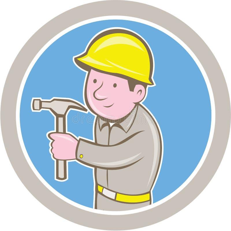 Timmermansbouwer Hammer Circle Cartoon vector illustratie
