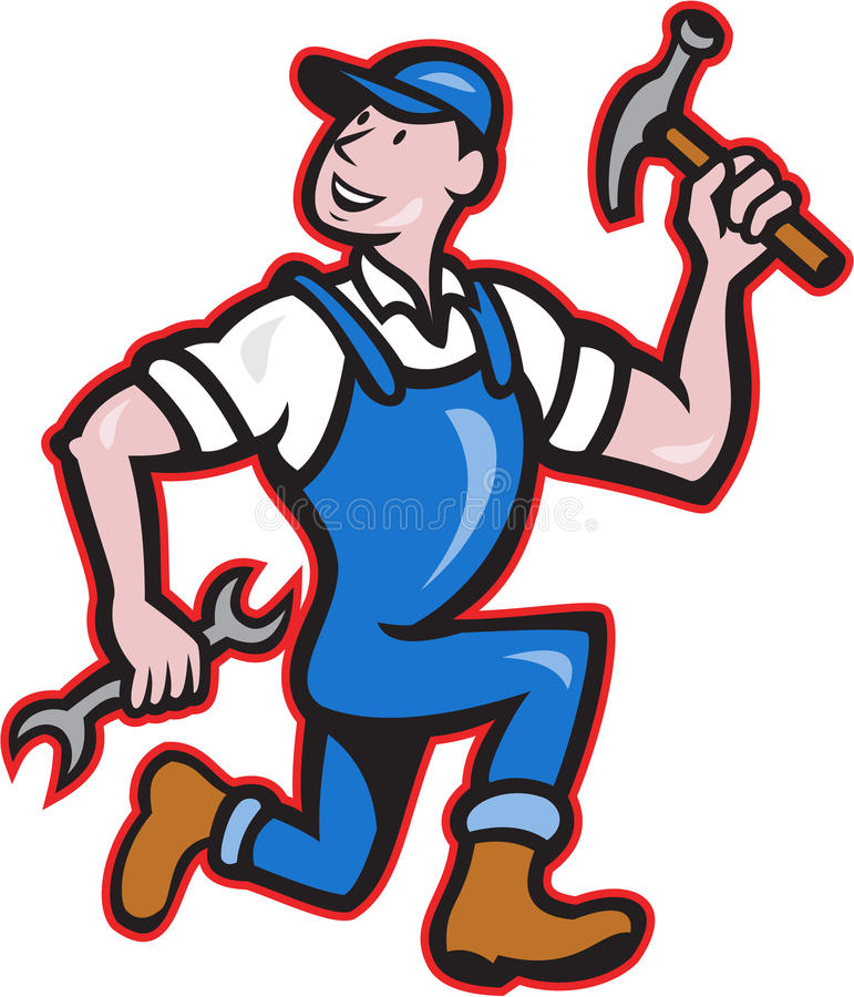 Timmermansbouwer Hammer Running Cartoon royalty-vrije illustratie