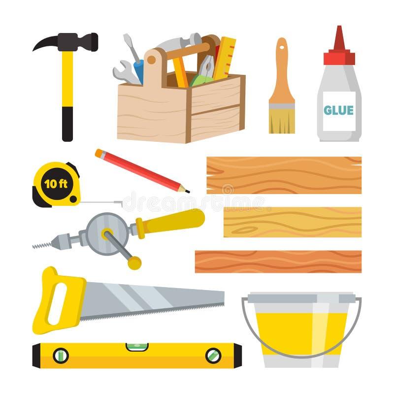 Timmerwerk en de Reeksvector van Houtbewerkingshulpmiddelen Reparatie en de Bouwtoebehoren Raad, Hamer, Toolbox, Borstel, Lijm, P stock illustratie