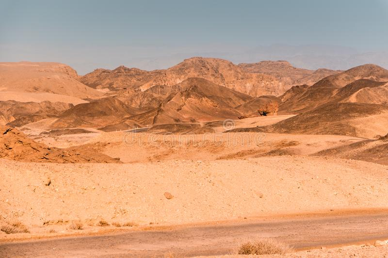 Timna Park, beautiful desert. Near Eilat, Israel. Place for hiking, trekking royalty free stock photo