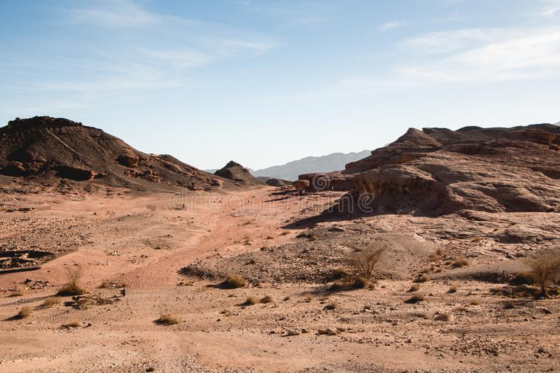 Timna Park, beautiful desert. Near Eilat, Israel. Place for hiking, trekking stock photo