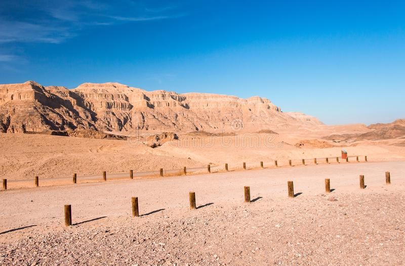 Timna Park, beautiful desert near Eilat. Israel. Place for hiking, trekking stock photography
