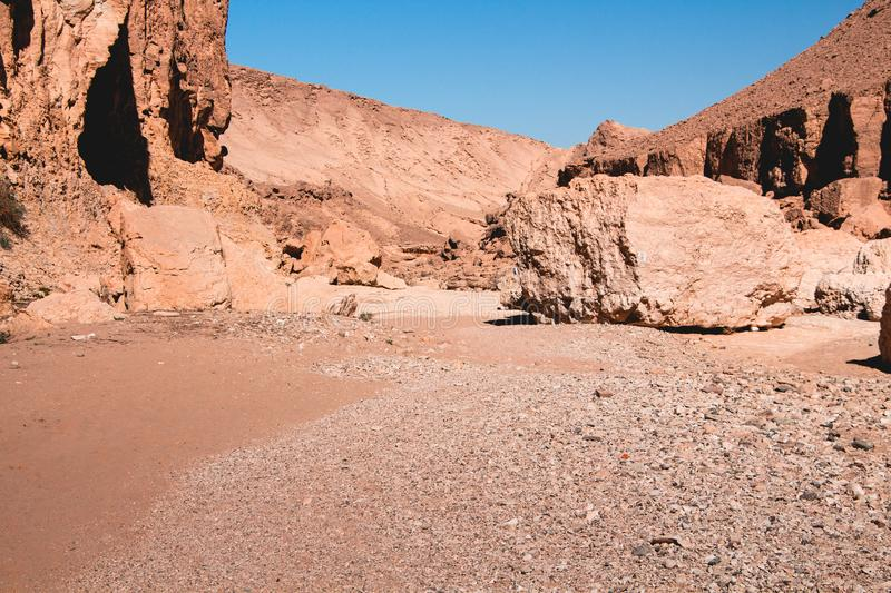 Timna Park, beautiful desert near Eilat. Israel. Place for hiking, trekking stock photo