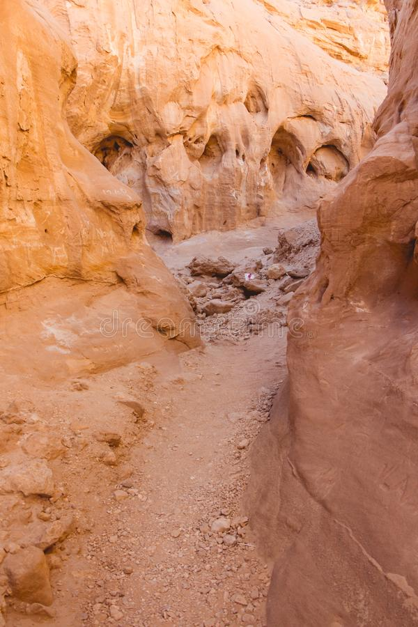 Timna Park, Israel. Little canyon in Timna park, Negev desert, Israel. Daytrip from Eilat stock photo