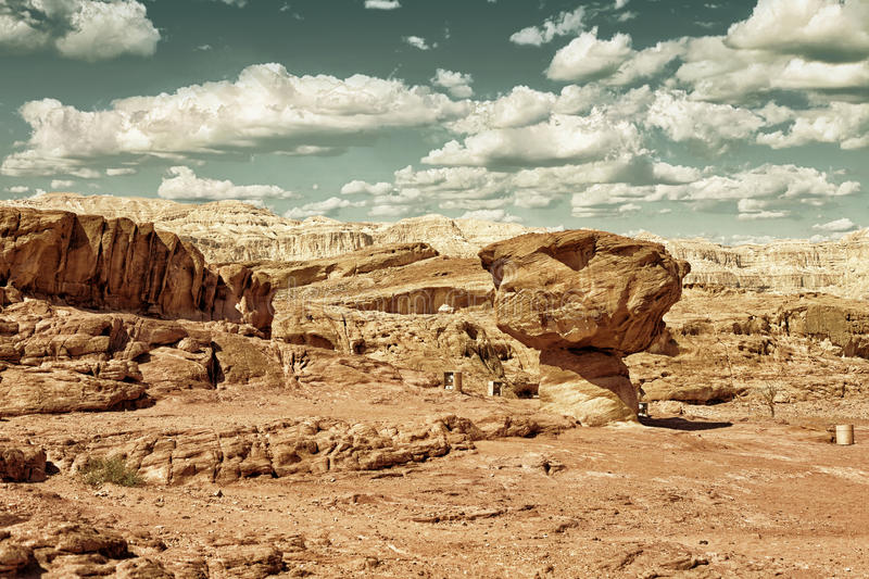 Timna Park, Mushroom sandstone in Israel HDR. The famous Mushroom Sandstone in Timna Park near to Eilat in Israel. HDR image with black gold filter royalty free stock images