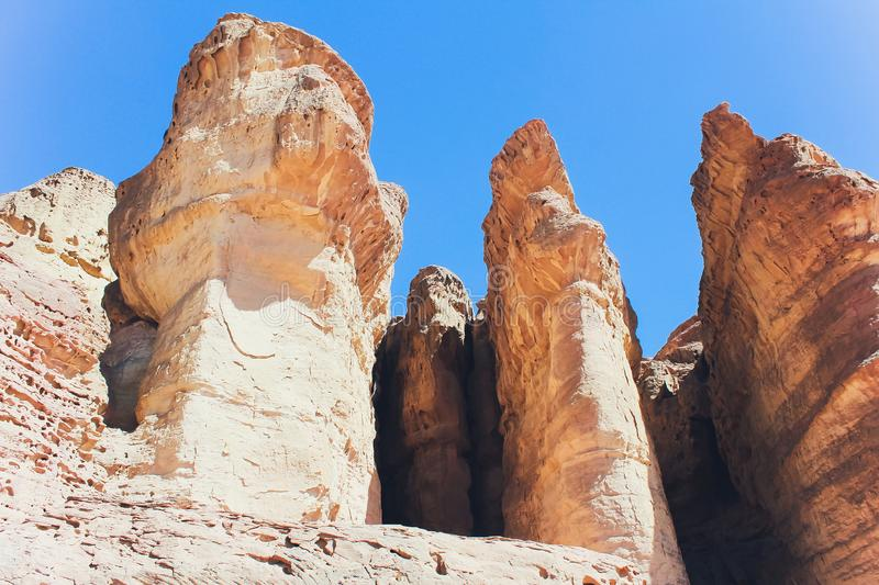 Timna Park and Solomon Pillars, Rocks in the desert, Landscape in the desert. Small rocky hills. Stone desert, red royalty free stock photos