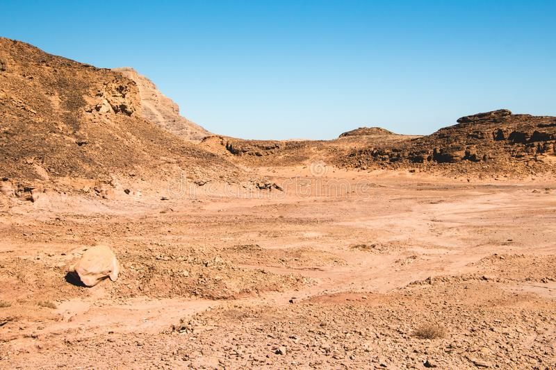 Timna Park. Beautiful desert near Eilat, Israel. Place for hiking, trekking royalty free stock photos