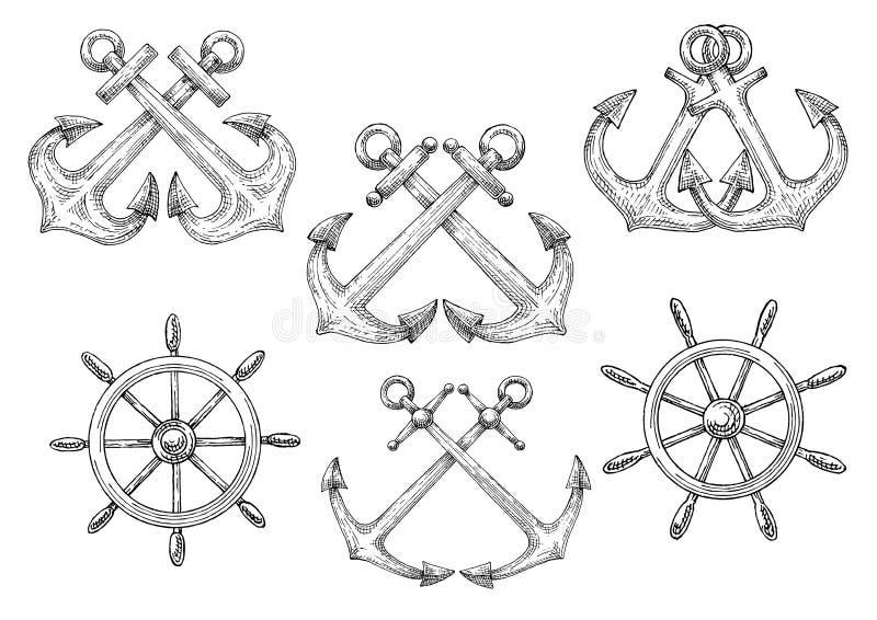 Timones de los veleros y bosquejos cruzados de las anclas ilustración del vector