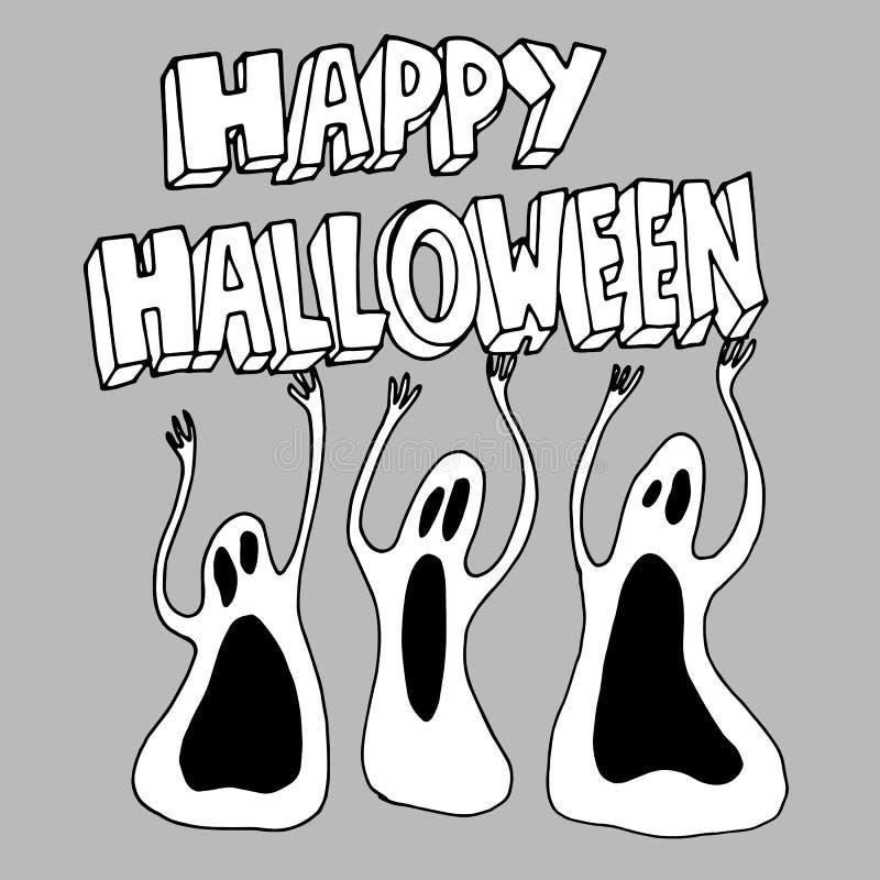 Timore spettrale del fumetto dell'illustrazione di Halloween di vettore del fantasma illustrazione vettoriale