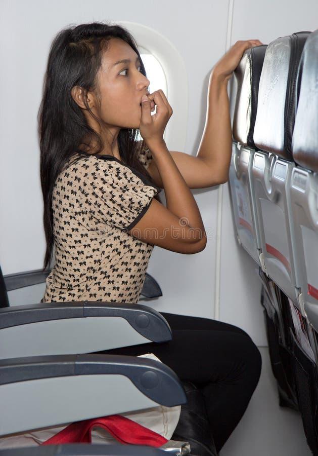 Timore sull'aereo fotografie stock