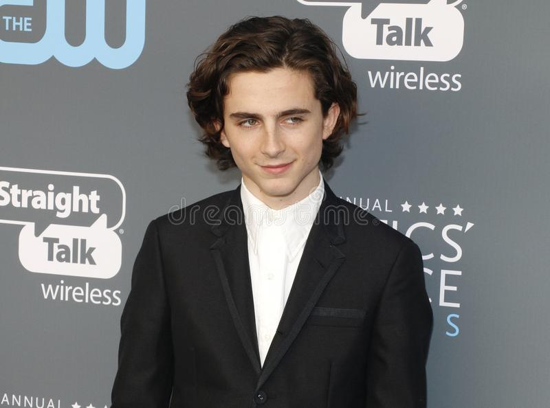 Timothee Chalamet. At the 23rd Annual Critics` Choice Awards held at the Barker Hangar in Santa Monica, USA on January 11, 2018 royalty free stock photos