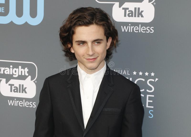 Timothee Chalamet. At the 23rd Annual Critics` Choice Awards held at the Barker Hangar in Santa Monica, USA on January 11, 2018 royalty free stock photography