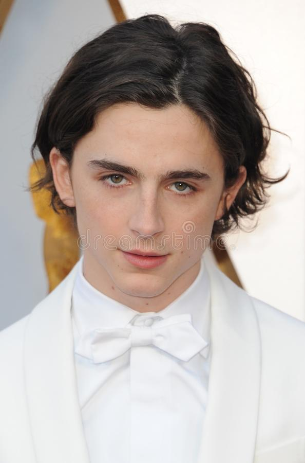 Timothee Chalamet. At the 90th Annual Academy Awards held at the Dolby Theatre in Hollywood, USA on March 4, 2018 stock image