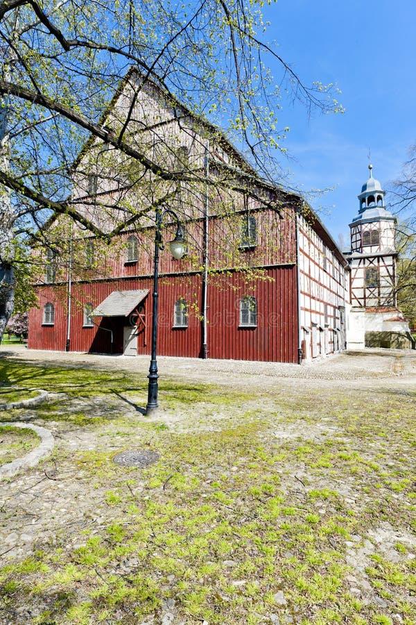 timrad kyrka av Jawor, Silesia, Polen arkivbilder