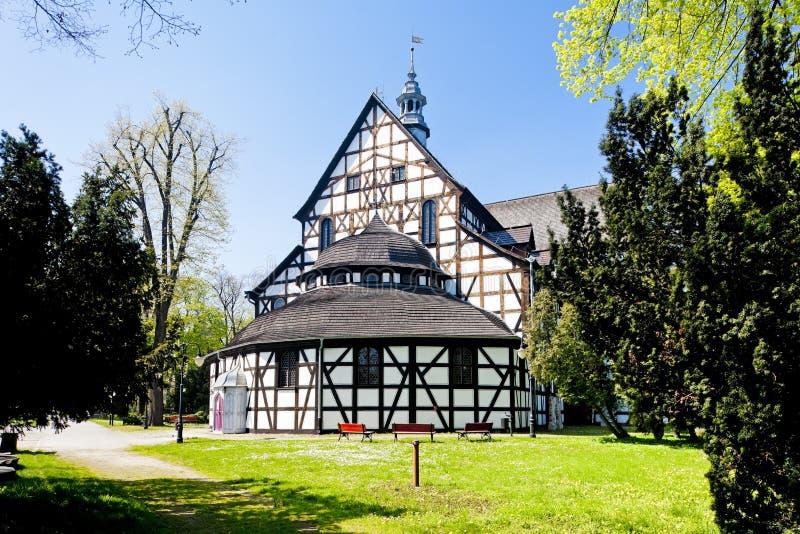 timrad kyrka av Swidnica, Silesia, Polen arkivfoto