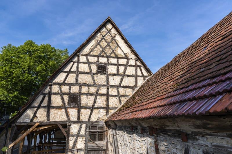 Timrat hus i Waiblingen, Rems Murr Kreis, Tyskland royaltyfri bild