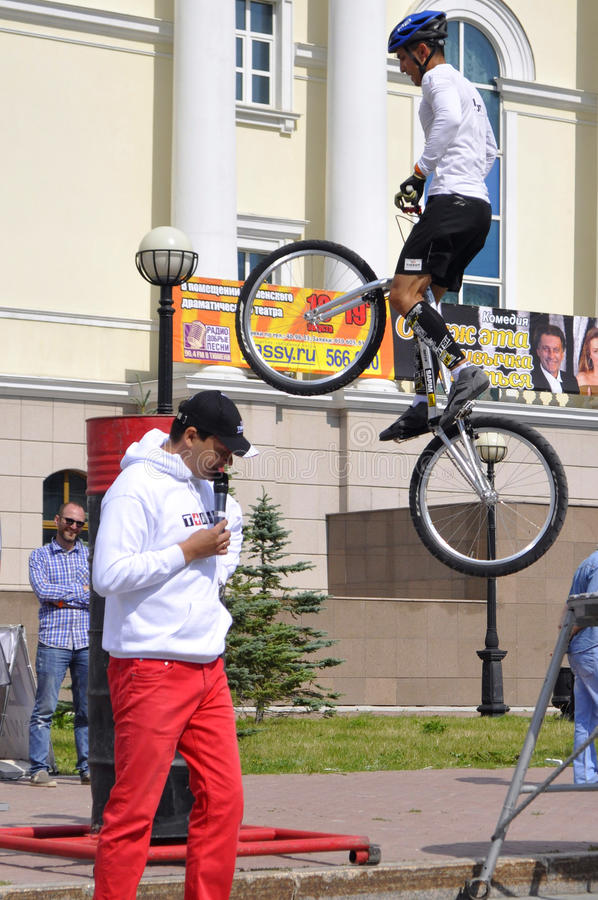 Timur Ibragimov performance, champions of Russia on a cycle trial. City Day of Tyumen on July 26, 2014. Timur Ibragimov performance, champions of Russia on a stock photos
