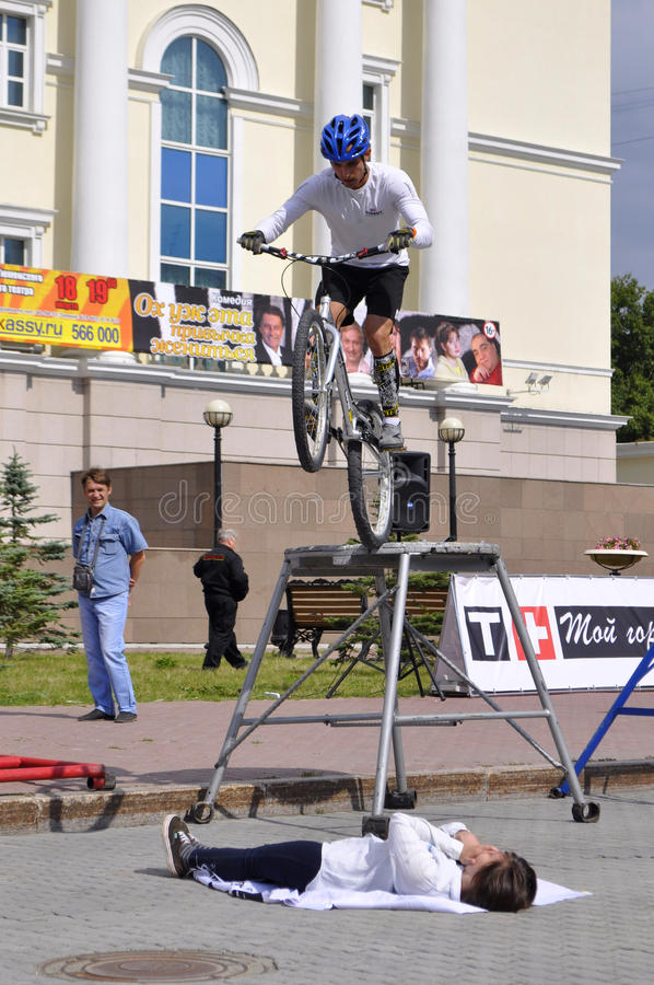 Timur Ibragimov performance, champions of Russia on a cycle trial. City Day of Tyumen on July 26, 2014. Timur Ibragimov performance, champions of Russia on a stock photo