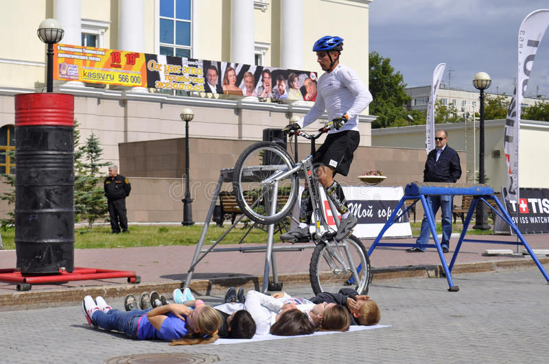 Timur Ibragimov performance, champions of Russia on a cycle trial. City Day of Tyumen on July 26, 2014. Timur Ibragimov performance, champions of Russia on a royalty free stock photography